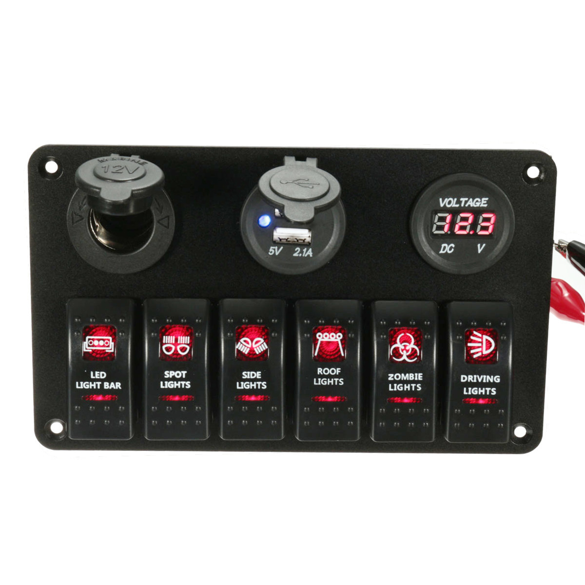 Boat Marine Laser Red LED ON OFF Rocker Switch Panel 12V 20A Circuit Breaker Dual Double USB Charger Socket 5V 3.1A Output