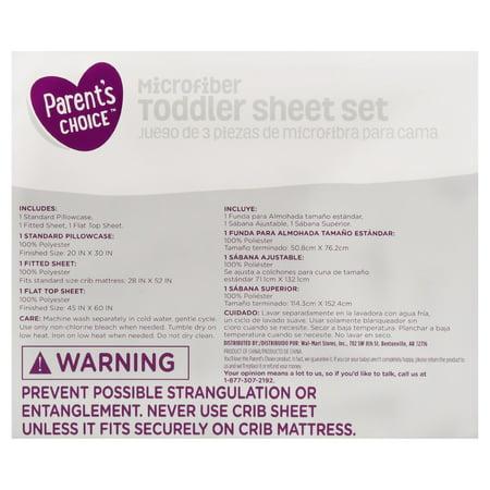 Parent's Choice, 3-Piece Microfiber Toddler Sheet Set, Navy Blue