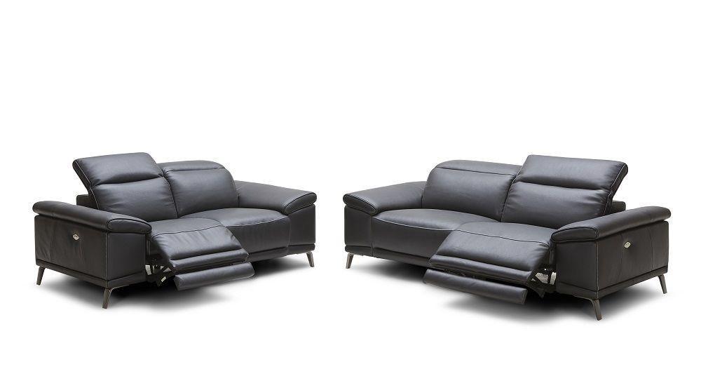 Modern Premium Black Italian Leather Electric Recliner Sofa Set 2Pcs J&M  Giovani - Walmart.com