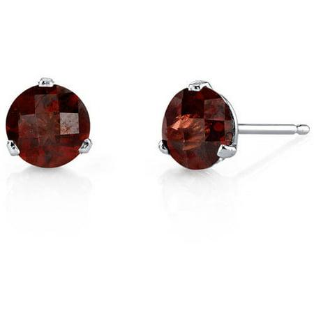 2.25 Carat T.G.W. Round-Cut Garnet 14kt White Gold Stud Earrings
