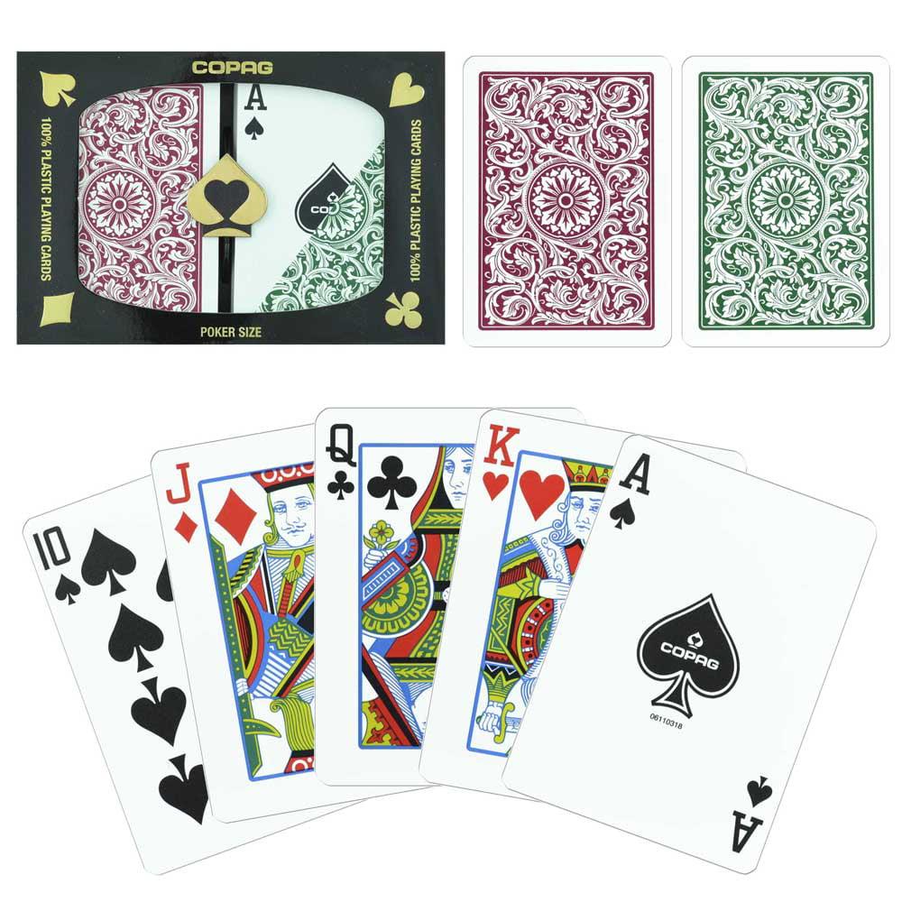 Copag 1546 Green Burgundy Poker Size Regular Index