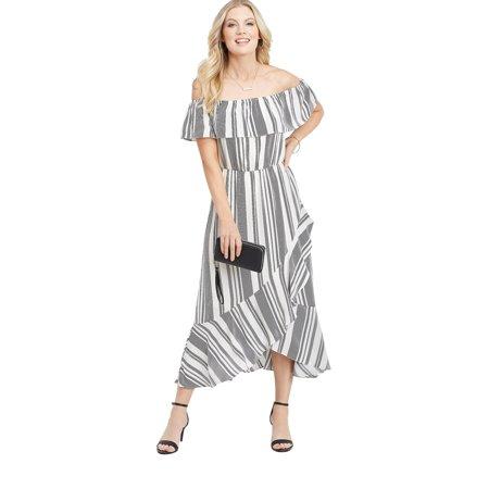 Stripe Jersey Ruffle Dress - maurices Off the Shoulder Maxi Dress - Women's Ruffled Stripe Print