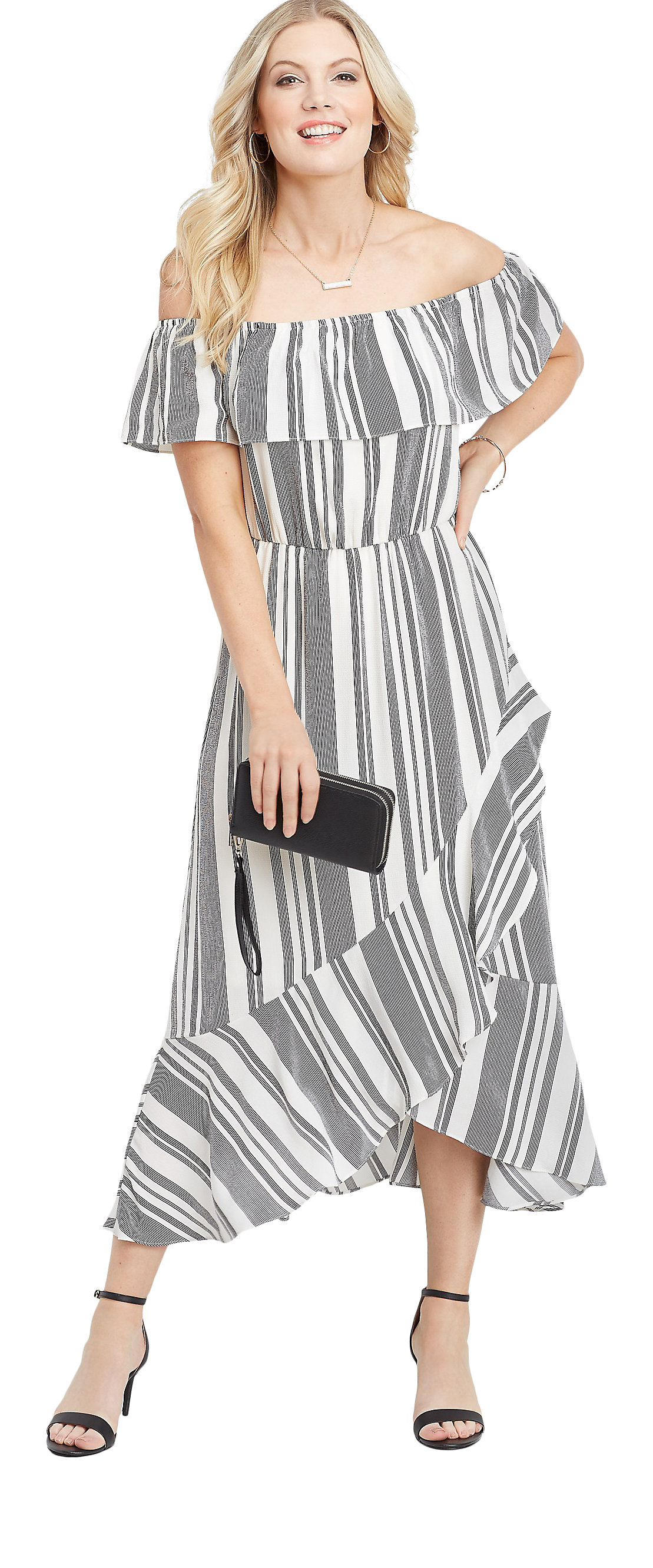 maurices Off the Shoulder Maxi Dress - Women?s Ruffled Stripe Print