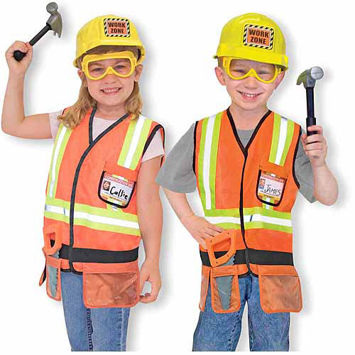 Melissa & Doug Construction Worker Role Play Costume Dress-Up Set (6 pcs)
