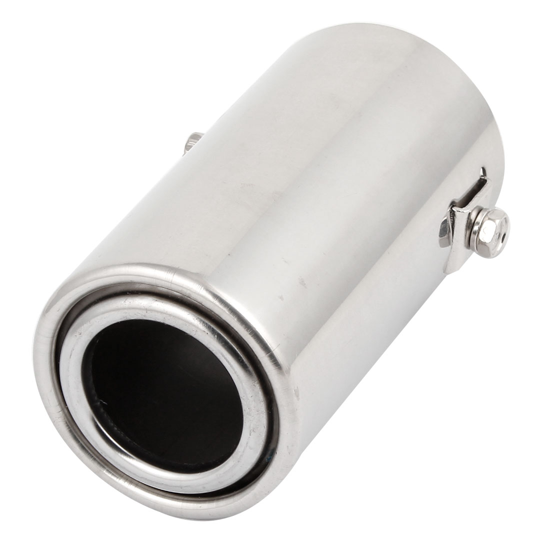 "Unique Bargains 11.5cm Long 2.3"" Inlet 1.4"" Oulet Dia Exhaust Pipe Muffler  Silver Tone"