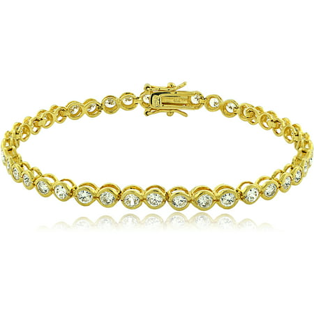 Cubic Zirconia Sterling Silver 18kt Gold-Tone Bezel-Set Classic Tennis Bracelet (Classic Tennis Bracelet Set)