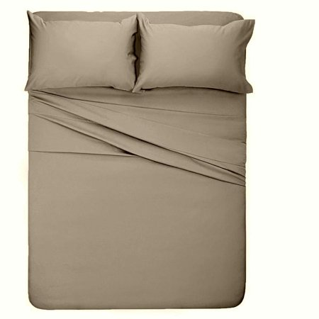 The Great American Store 1800 Series Microfiber 4PC Bed Sheet Set (Queen, Solid Beige) - Double Brushed- Wrinkle, Fade & Stain Resistant