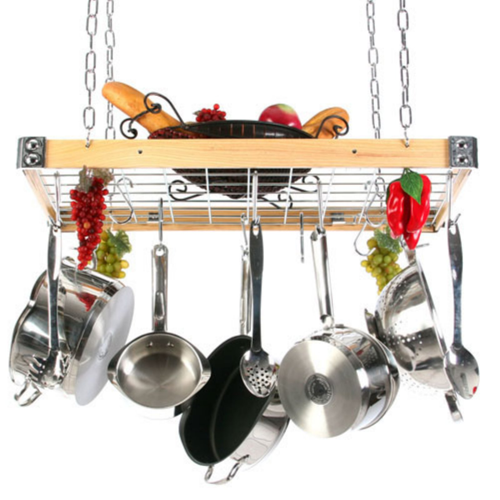 The Gourmet Wood and Metal Rectangle Pot Rack with Grid