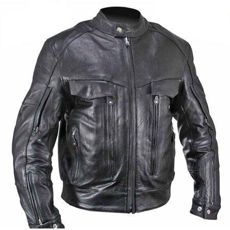 Xelement B4495 Bandit Mens Black Buffalo Leather Cruiser Motorcycle