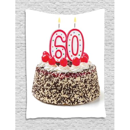 60th Birthday Decorations Tapestry Happy Party Cake With Candles Cherries And Sprinkles Image Photo