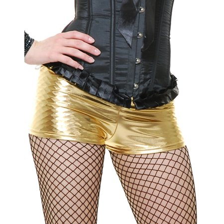 Womens  50s or 80s Dance Crew Gold Lame Liquid Metal Boy Shorts Hot Pants