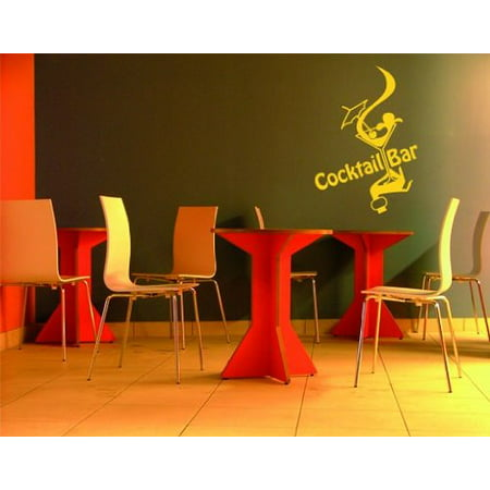 Cocktail Bar Wall Decal - Wall Sticker, Vinyl Wall Art, Home Decor, Wall Mural - S116 - 12in x 17in, White