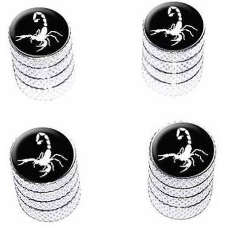 Scorpion White on Black Tire Rim Wheel Aluminum Valve Stem Caps, Multiple (Best Lubricant For Aluminum On Aluminum)