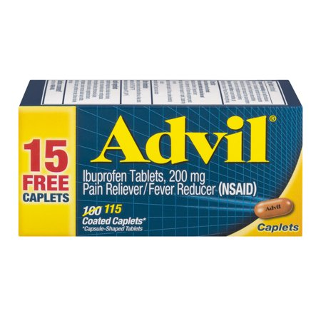 Image of Advil (115 Count) Pain Reliever / Fever Reducer Coated Caplet, 200mg Ibuprofen, Temporary Pain Relief