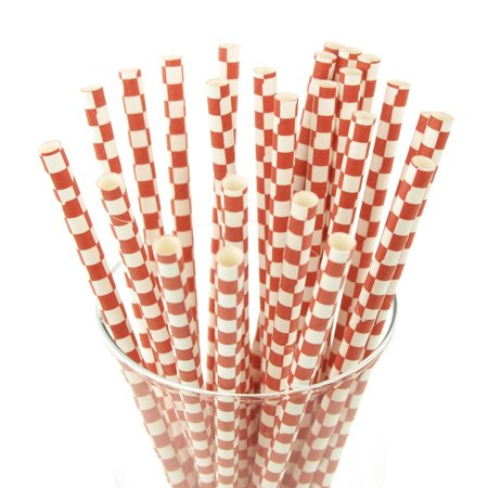 Race Car Checkered Paper Straws, 7-3/4-inch, 25-Piece, Red