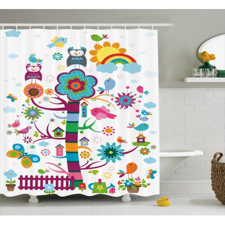 Nursery Shower Curtain Nature Caricature With Funny Looking Birds And An Abstract Colored Tree Gardening