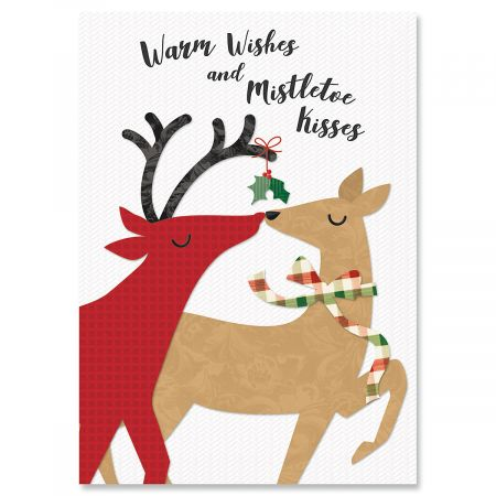 Kissing Deer Christmas Greeting Cards- Set of 18 Holiday Greeting Cards