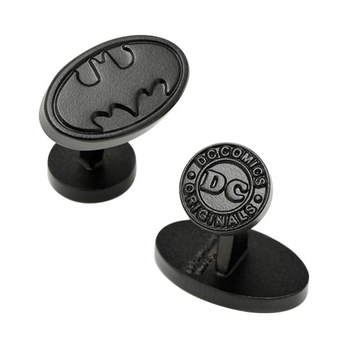 Men's Satin Black Oval Batman Logo Cufflinks