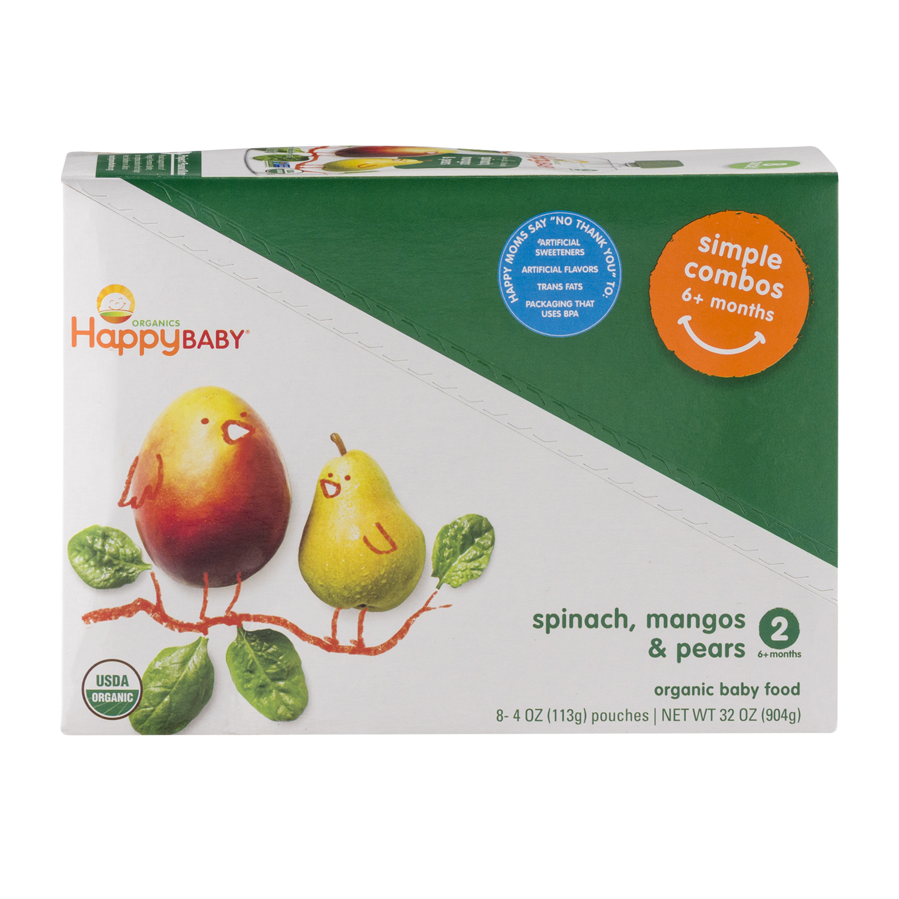 Happy Baby Simple Combos, Stage 2, Organic Baby Food, Pears, Mango & Spinach - 4 oz