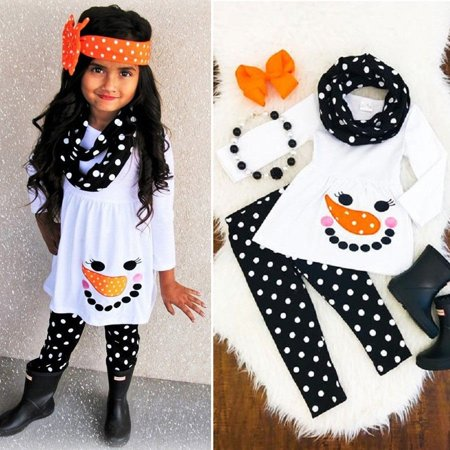 Toddler Kids Baby Girls Snowman Tops Dress Dot Pants Leggings Outfits Xmas Set ()