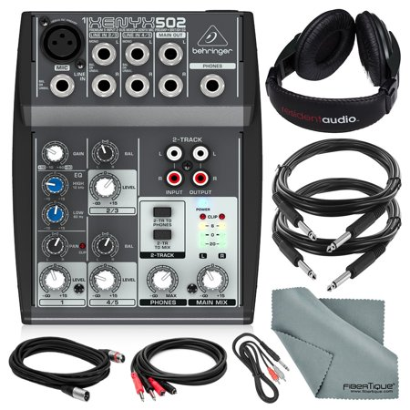 behringer xenyx 502 5 channel audio mixer and deluxe bundle w stereo headphones 5x cables and. Black Bedroom Furniture Sets. Home Design Ideas
