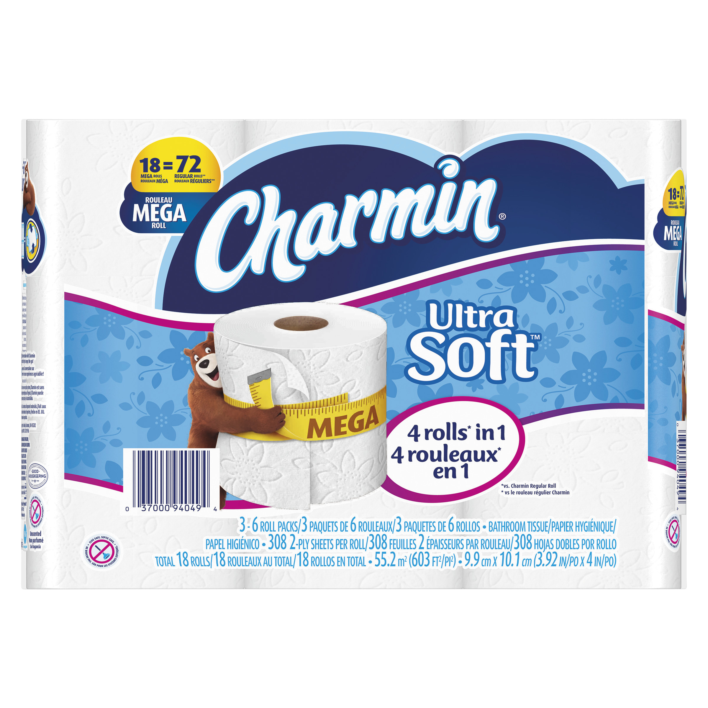 Charmin Ultra Soft Toilet Paper Mega Rolls, 308 sHeets, 18 rolls by Procter & Gamble