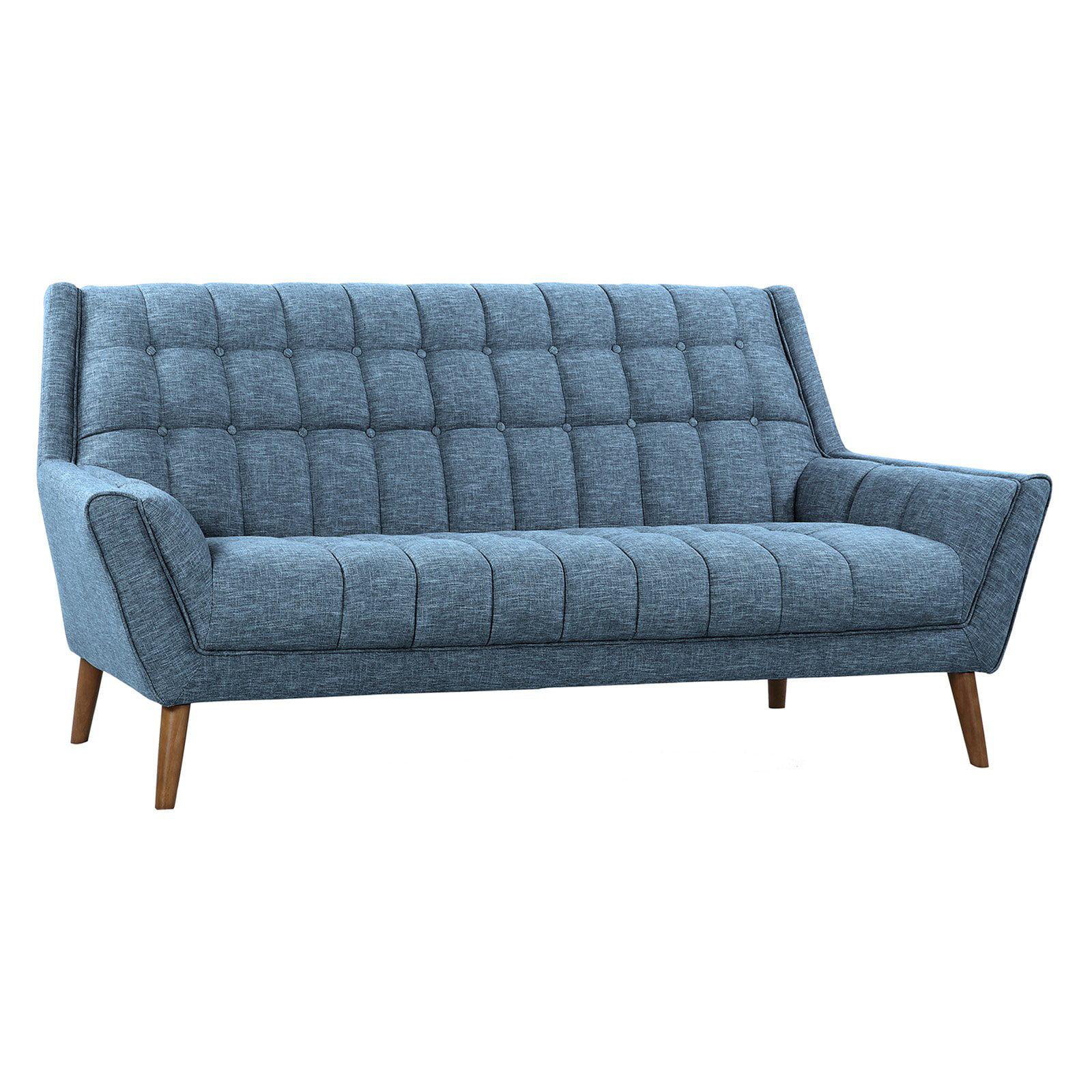 Armen Living Cobra Mid-Century Modern Sofa with Linen and Walnut Legs