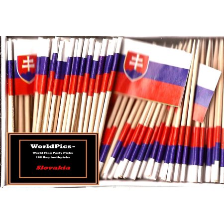 One Box Slovakia Toothpick Flags, 100 Small Slovakian Cupcake Flag Toothpicks or Cocktail Picks