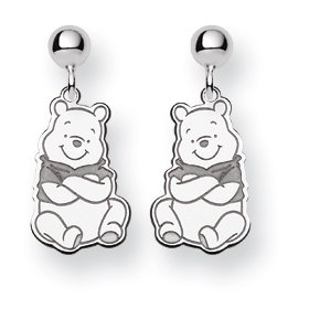 (Sterling Silver Gift Boxed Rhodium-plated Disney Winnie the Pooh Dangle Post Earrings)