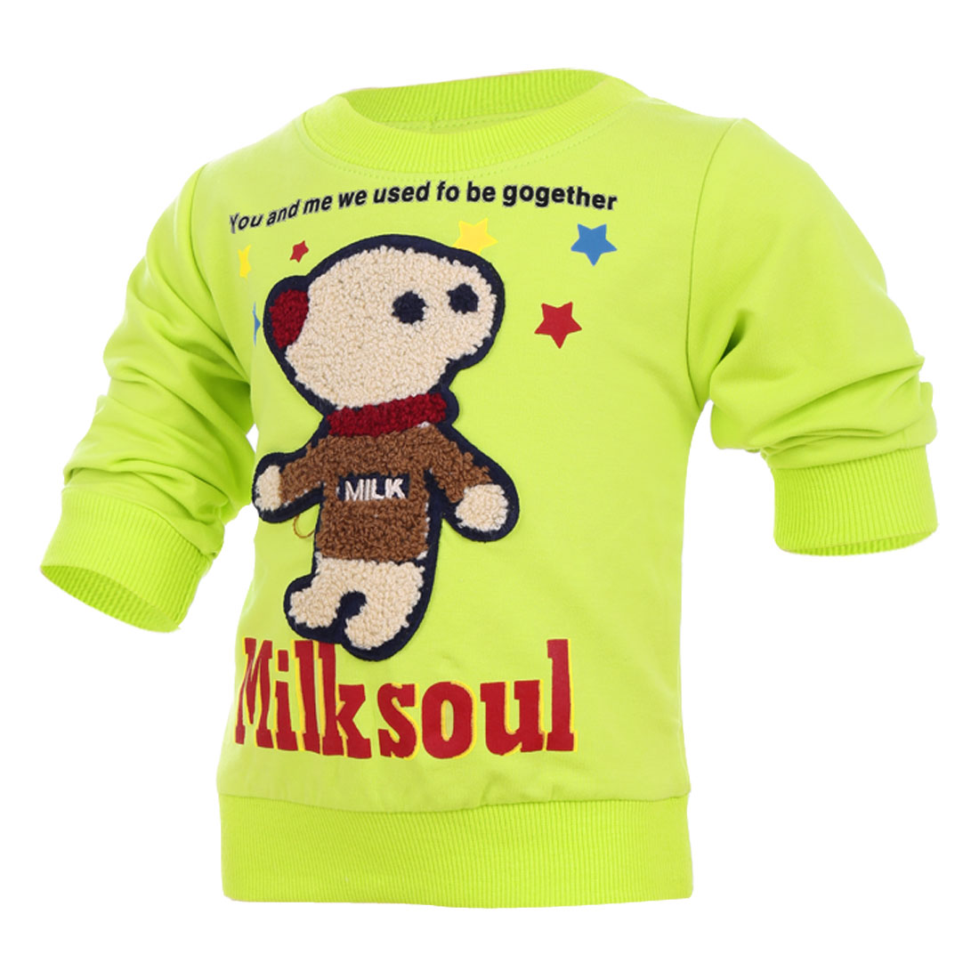 Allegra K Unisex Children Stylish Cartoon Bear Panel Design Top Shirt Green (Size 3T)