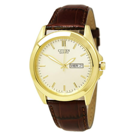 BF0582-01P Men's Quartz Brown Leather Strap Gold Tone Steel Watch