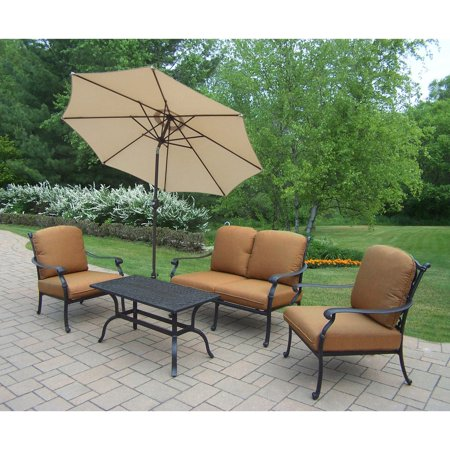 Oakland Living Hampton 4 Piece Chat Set With Sunbrella Cushions And
