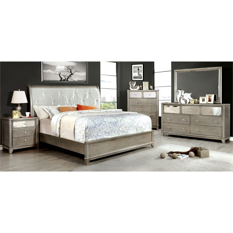 Furniture of America Lilliane 4 Piece Queen Bedroom Set in Silver by
