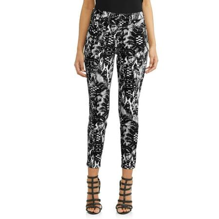 Rosa Curvy High Waist Ikat Ankle Jean Women's (Black (Fleece Print Jeans)