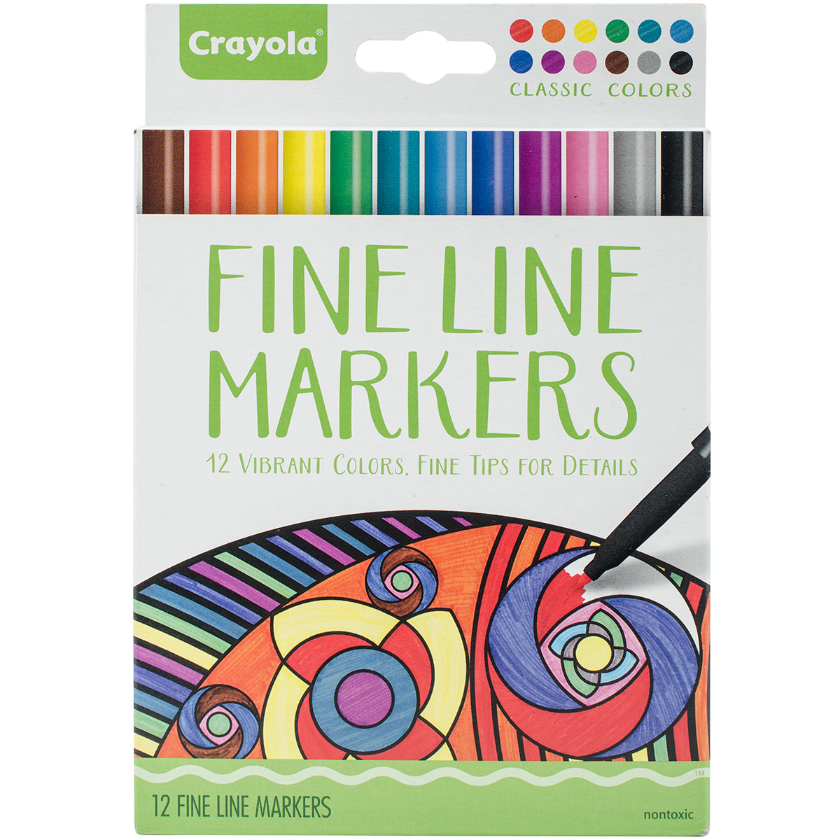 Crayola 12 Count Classic Adult Coloring Fine Line Marker Set
