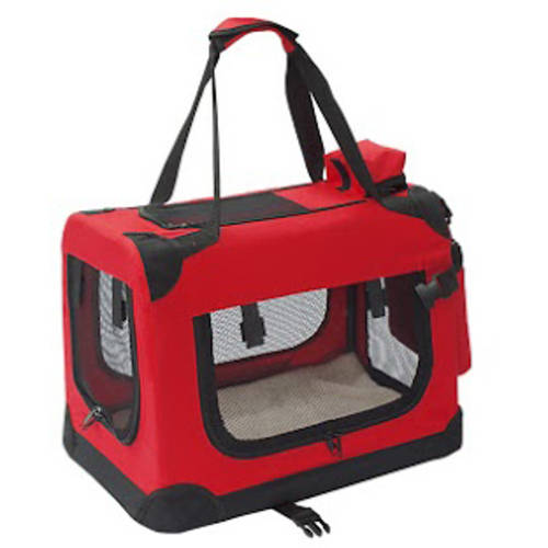 "ALEKO 19X14X12"" Heavy Duty Collapsible Red Pet Carrier Portable Pet Home Spacious Traveler Pet Bag by ALEKO"