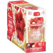 (8 Pouches) Happy Baby Organics Baby Food, Bananas, Raspberries & Oats, 4 Oz
