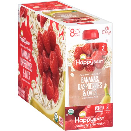 Happy Baby Organics Baby Food, Bananas, Raspberries & Oats, 4 Oz x 8