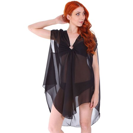 e5af565008cf Simplicity - Women's Chiffon Plus Size Beach Swimwear Cover Up Dress for  Pool, 7401_Black - Walmart.com