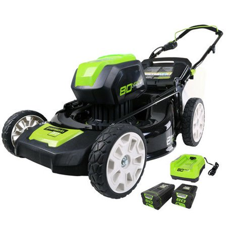 Greenworks PRO 21-Inch 80V Cordless Lawn Mower, Two 2.0AH