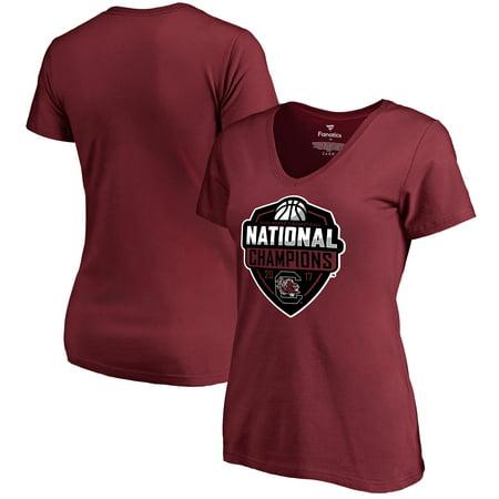 South Carolina Gamecocks Fanatics Branded Women's 2017 NCAA Women's Basketball National Champions Official Logo V-Neck T-Shirt - Garnet - South Tampa Halloween 2017