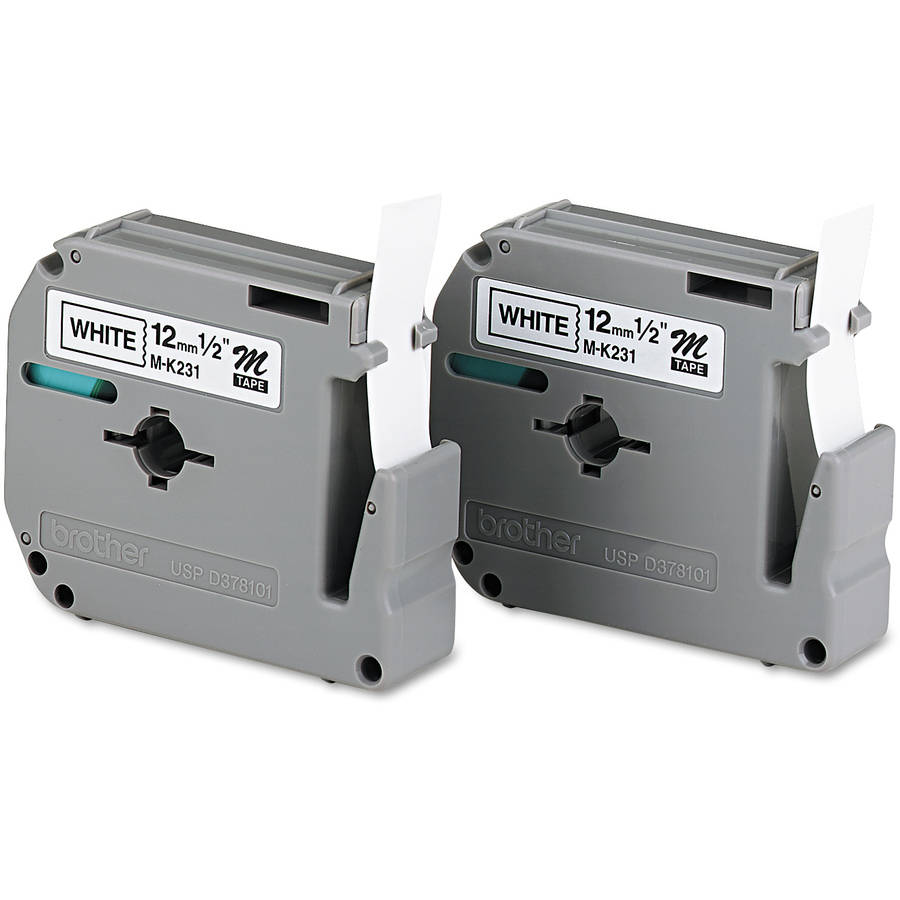 Brother P-Touch M Series Tape Cartridges for P-Touch Labelers, 1/2w, Black on White, 2/Pack