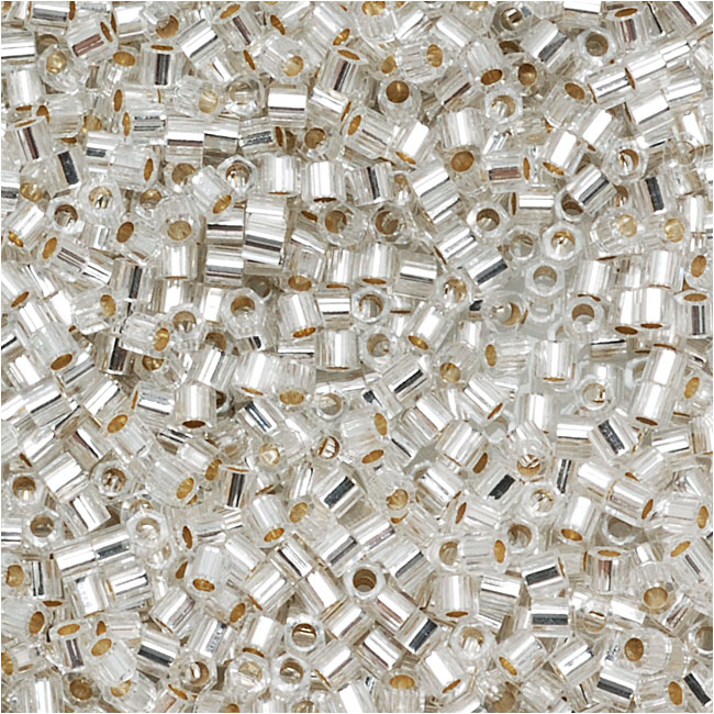 Miyuki Delica Hex Cut Seed Beads 15/0 Silver Lined Crystal DBSC041 4 Grams