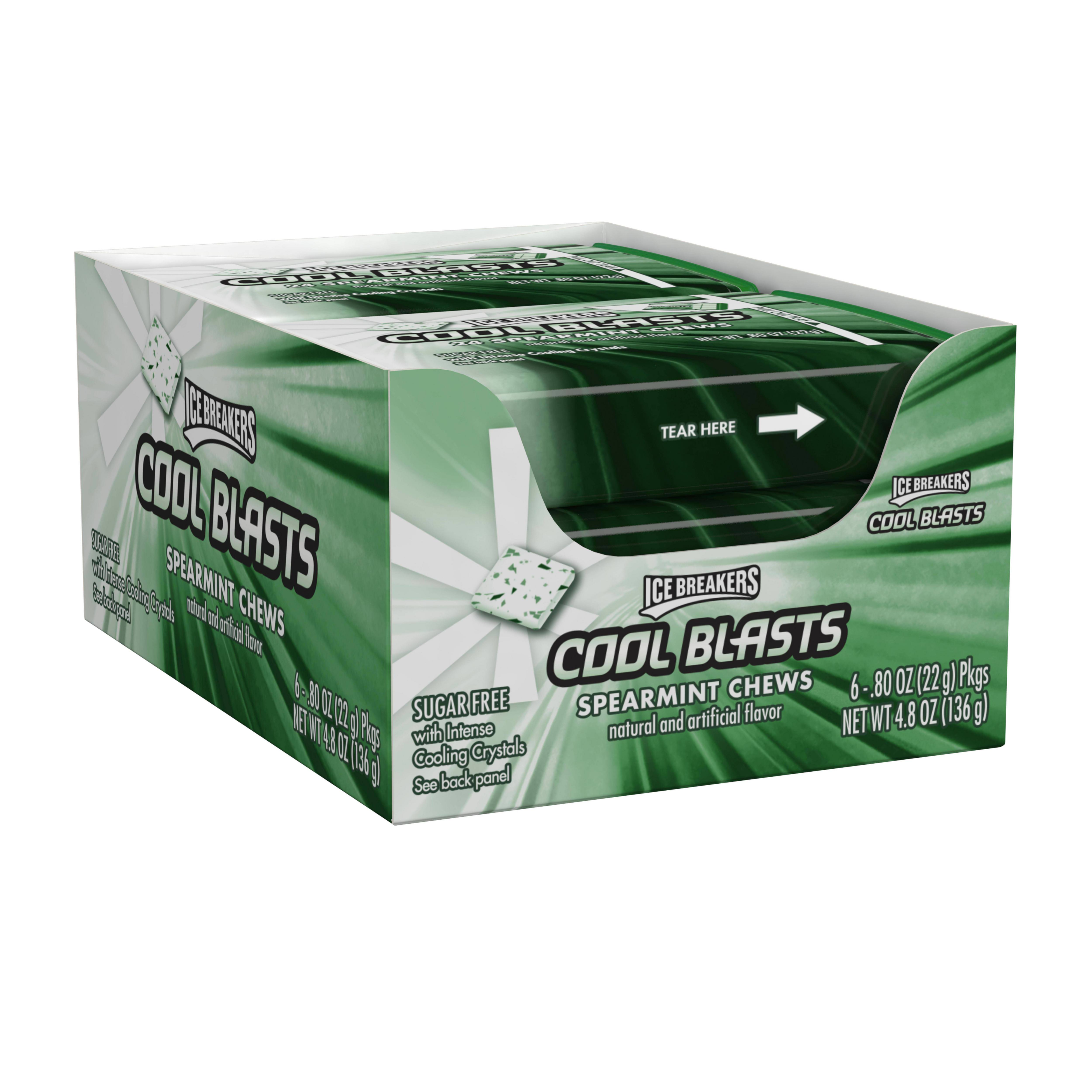 Ice Breakers Cool Blasts Spearmints Chews Mints, 0.88 Oz., 6 Count