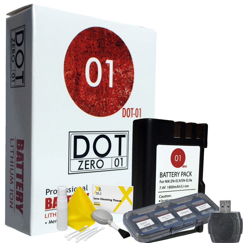 DOT-01 Brand 1800 mAh Replacement Nikon EN-EL9 Battery for Nikon D3000 Digital Camera and Nikon ENEL9 Accessory Bundle