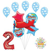 Airplane 2nd Birthday Party Supplies Vintage Plane Balloon Bouquet Decorations