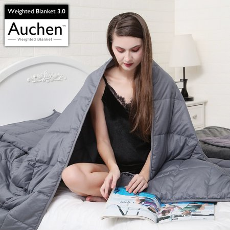 Auchen Weighted Blanket 3.0 | 2019 Newest Gray Heavy Adult Weighted Blankets 15 Pound | Helps with Autism, ADHD, Stress and Anxiety Relief | 48