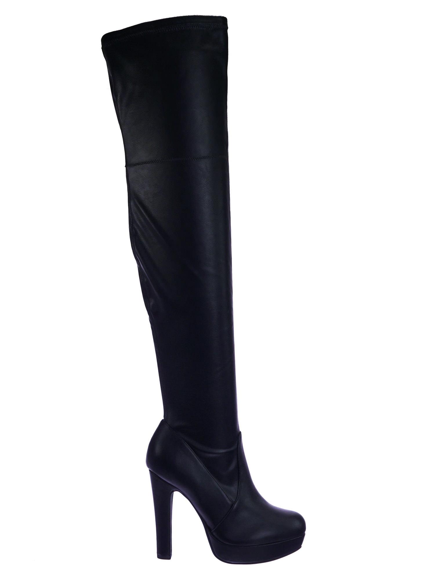 Yokun by Delicious, Stretch Thigh High Over Knee OTK Platform High Heel Dress Boots
