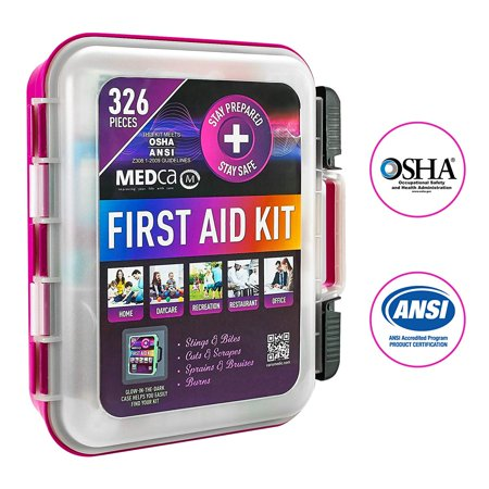 First Aid Kit - Emergency First Aid Kit and Medical Kit Exceeds ANSI Z308.1-2009 OSHA Standards, Hard Case, Wall Mount & Glows in The Dark for Offices, Home, Schools, Daycare, Construction Sites Complete Care First Aid Kit