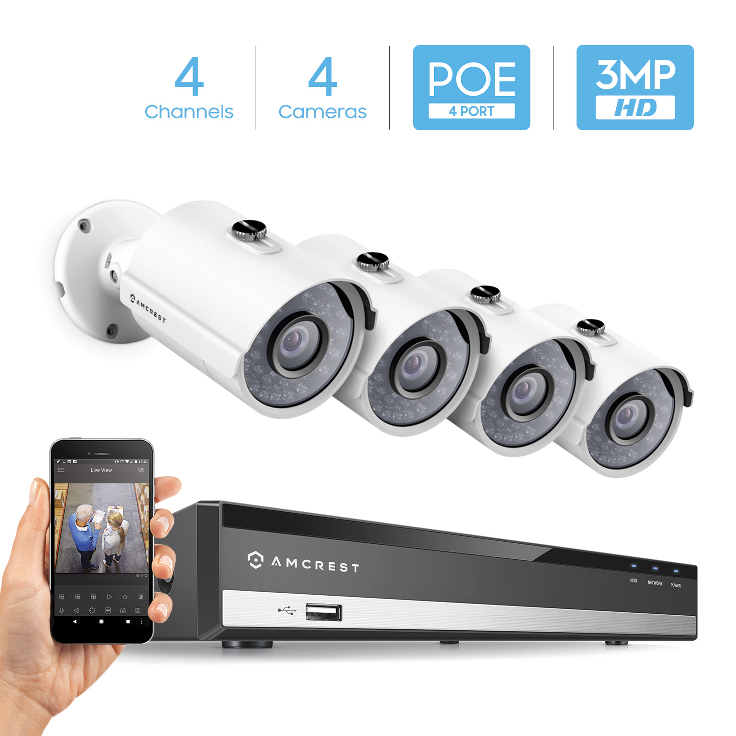 Amcrest 4CH Plug & Play H.265 6MP NVR 3MP 1536P Security Camera System, (4) x 3-Megapixel 81° Wide Field of View Weatherproof Metal Bullet PoE IP Cameras, 98 Feet Night Vision (White)